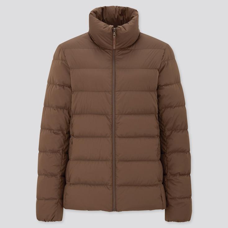 Women Ultra Light Down Jacket, Dark Brown, Large