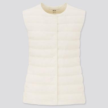 Women Ultra Light Down Compact Vest, Off White, Medium