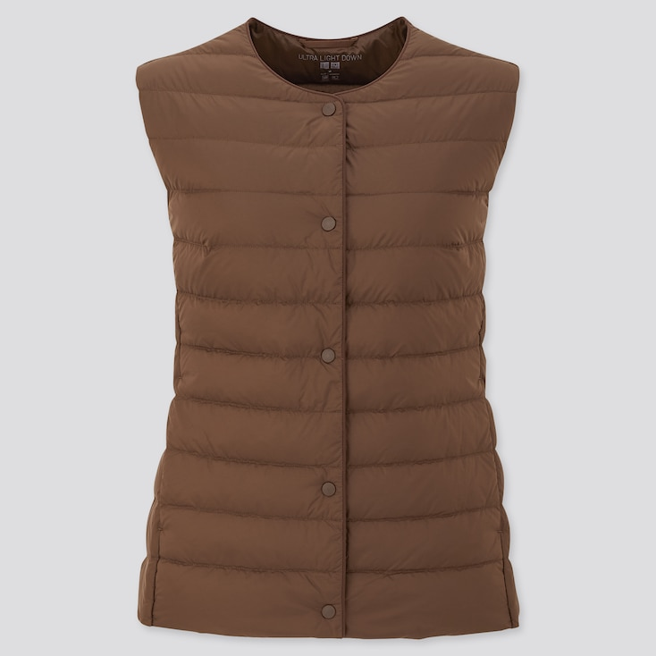 Women Ultra Light Down Compact Vest, Dark Brown, Large