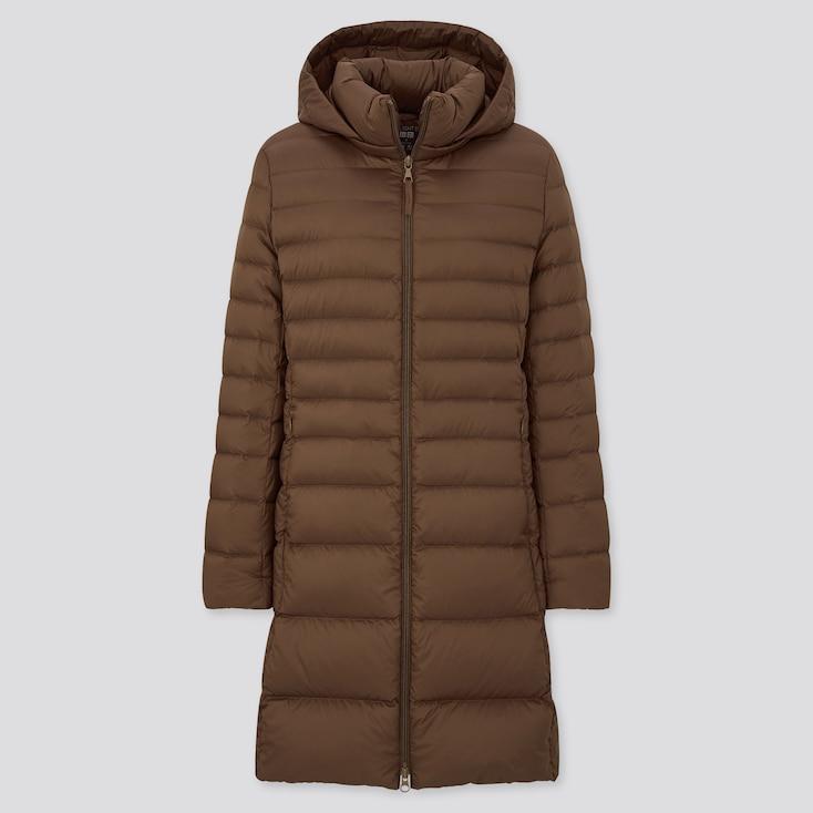 Women Ultra Light Down Hooded Coat, Dark Brown, Large