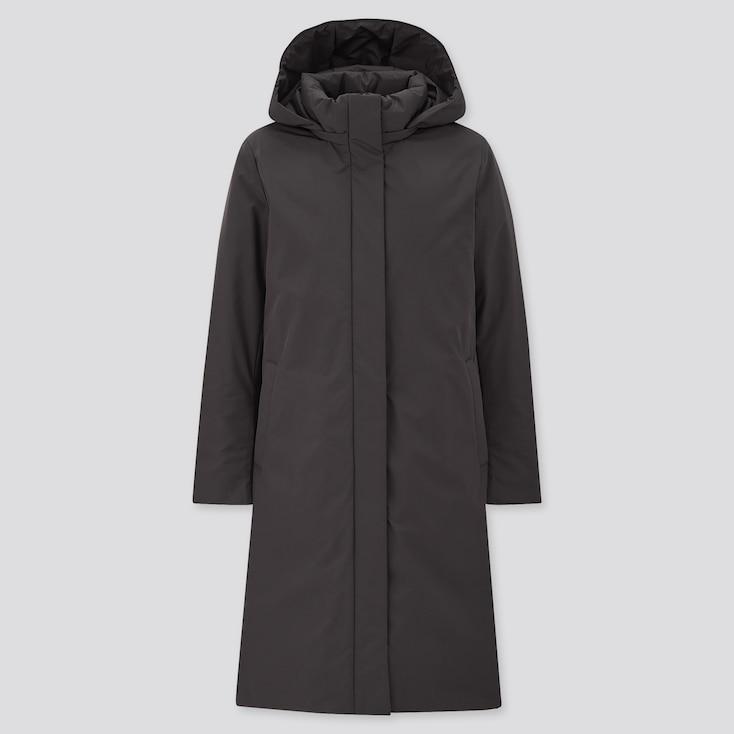 Women Hybrid Down Coat, Black, Large