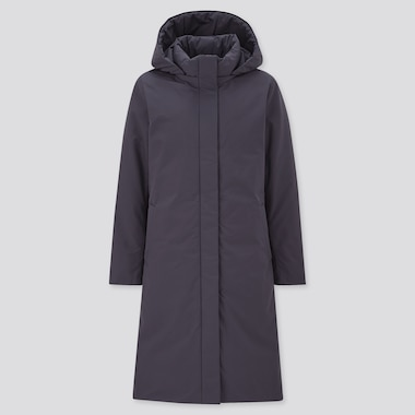 Women Hybrid Down Coat, Navy, Medium