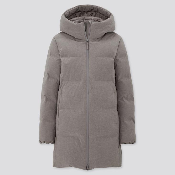 Women Seamless Down Short Coat, Gray, Large