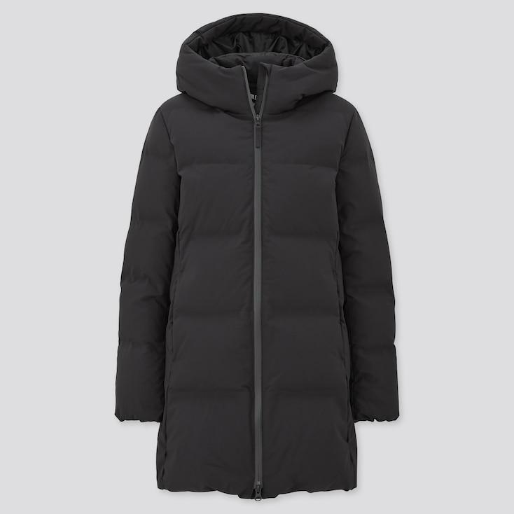 Women Seamless Down Short Coat, Black, Large