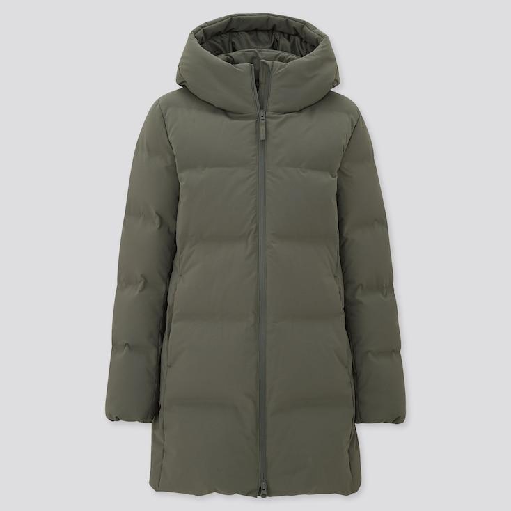Women Seamless Down Short Coat, Olive, Large