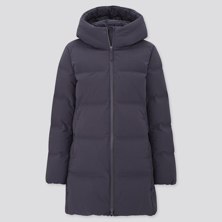 Women Seamless Down Short Coat, Navy, Large