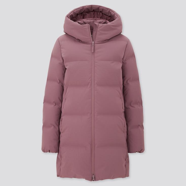 Women Seamless Down Short Coat, Purple, Large