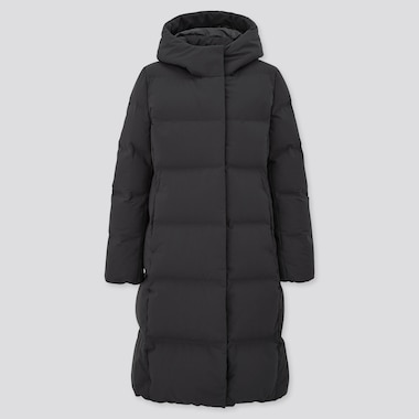Women Seamless Down Hooded Long Coat