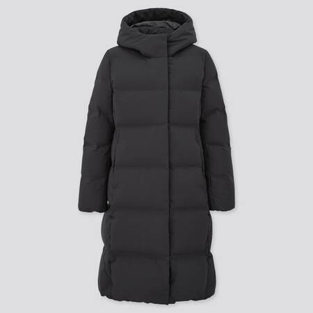 Women Seamless Down Hooded Long Coat