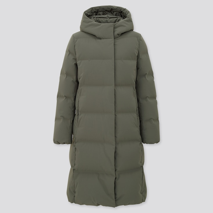 Women Seamless Down Long Coat (Online Exclusive), Olive, Large