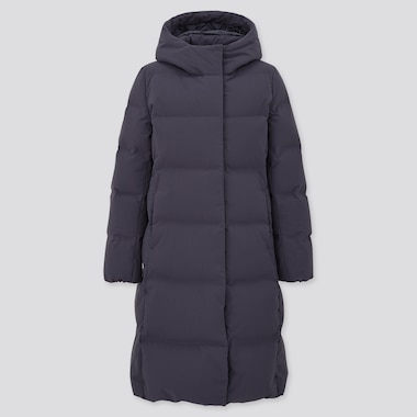 Women Seamless Down Long Coat (Online Exclusive), Navy, Medium