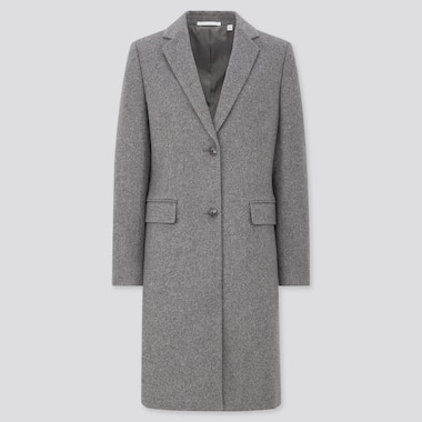 Women Cashmere Blend Chester Coat, Gray, Medium