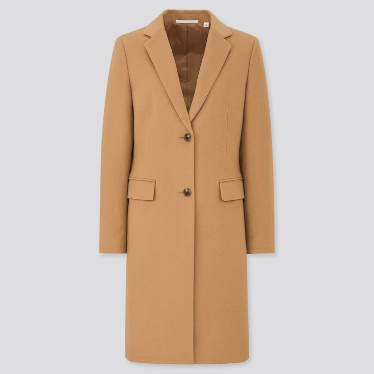 Women Cashmere Blend Chester Coat, Beige, Large