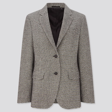 Women Houndstooth Tweed Jacket