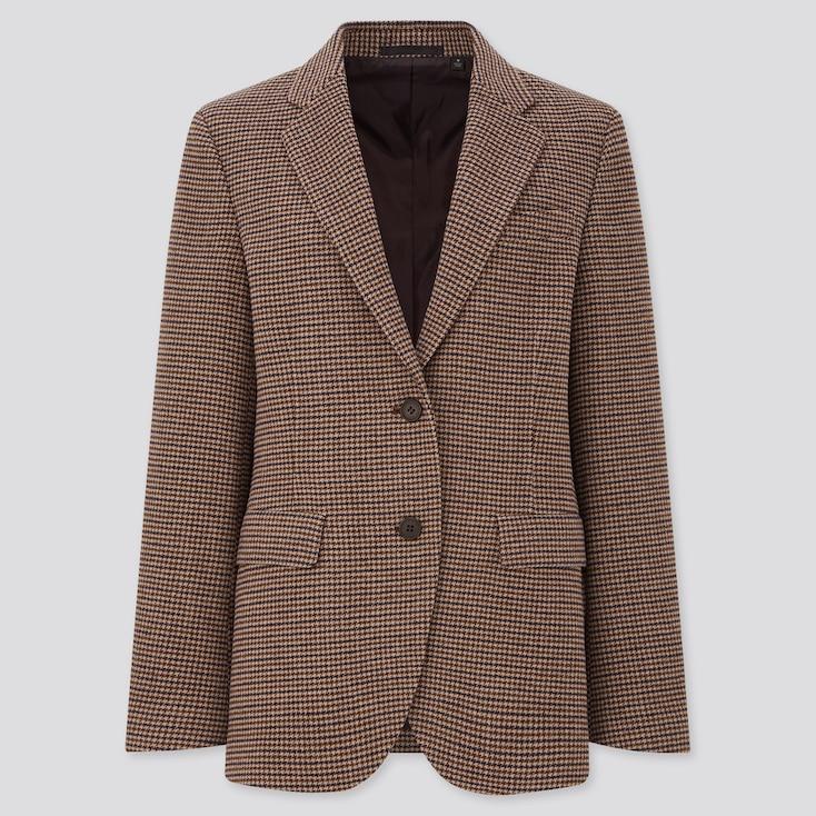 Women Tweed Mannish Jacket, Brown, Large