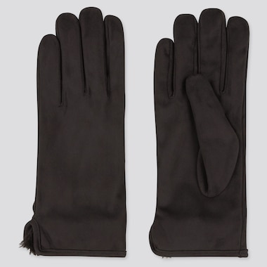 Women Heattech Faux Shearling-Cuffed Gloves, Black, Medium