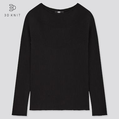 Women 3d Extra Fine Merino Ribbed Boat Neck Sweater, Black, Medium
