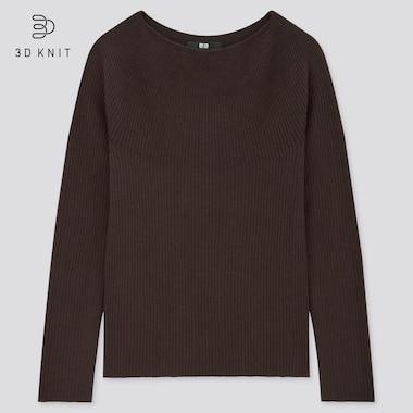 Women 3d Extra Fine Merino Ribbed Boat Neck Sweater, Dark Brown, Medium