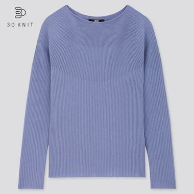 Women 3d Extra Fine Merino Ribbed Boat Neck Sweater, Blue, Medium