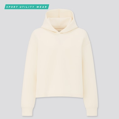 Women Ultra Stretch Dry Sweat Long-Sleeve Hoodie, Off White, Medium