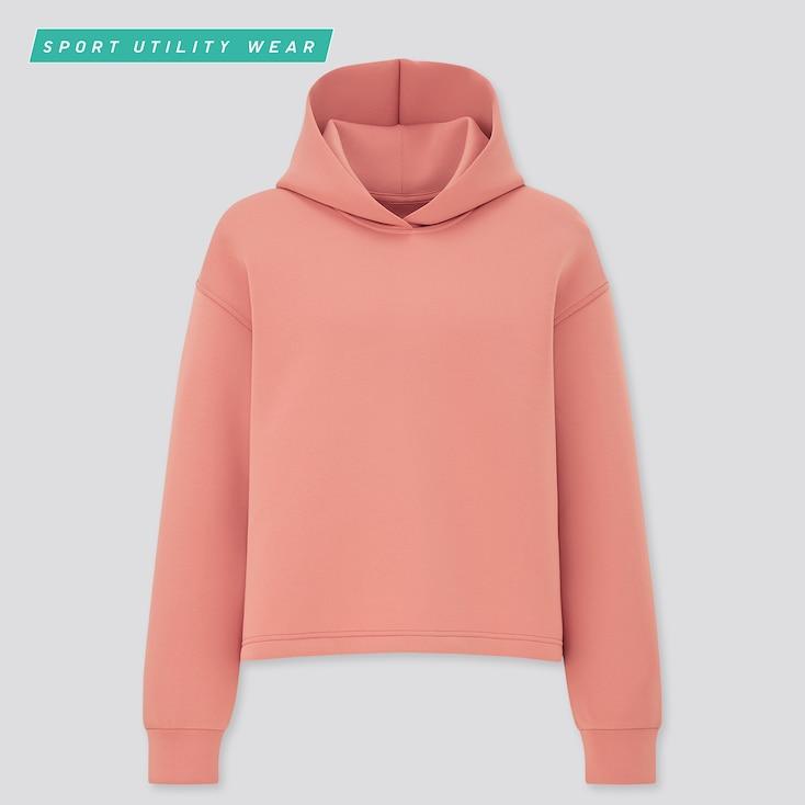 Women Ultra Stretch Dry Sweat Long-Sleeve Hoodie, Pink, Large