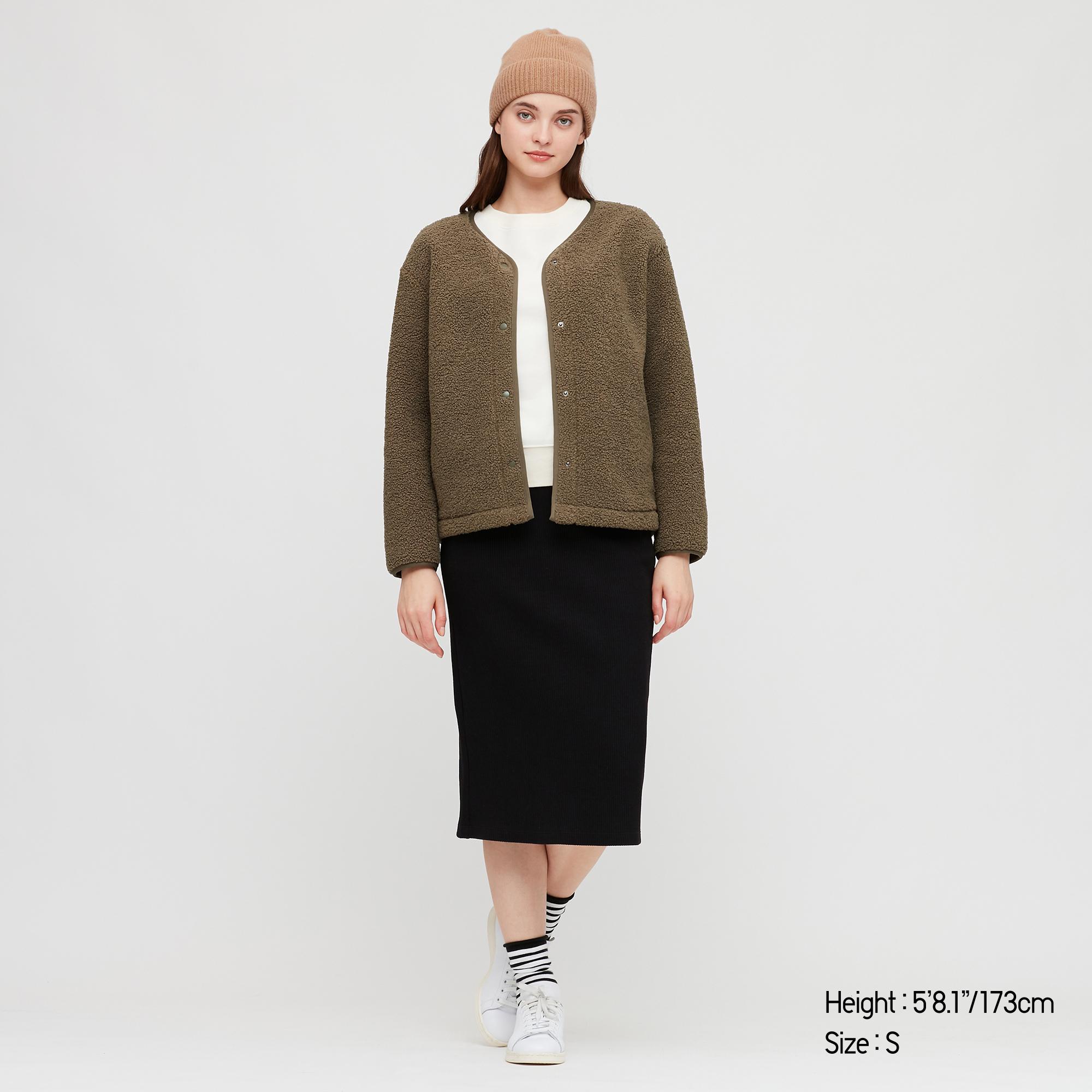 Women Pile-Lined Fleece Crew Neck Cardigan, Dark Brown, Large