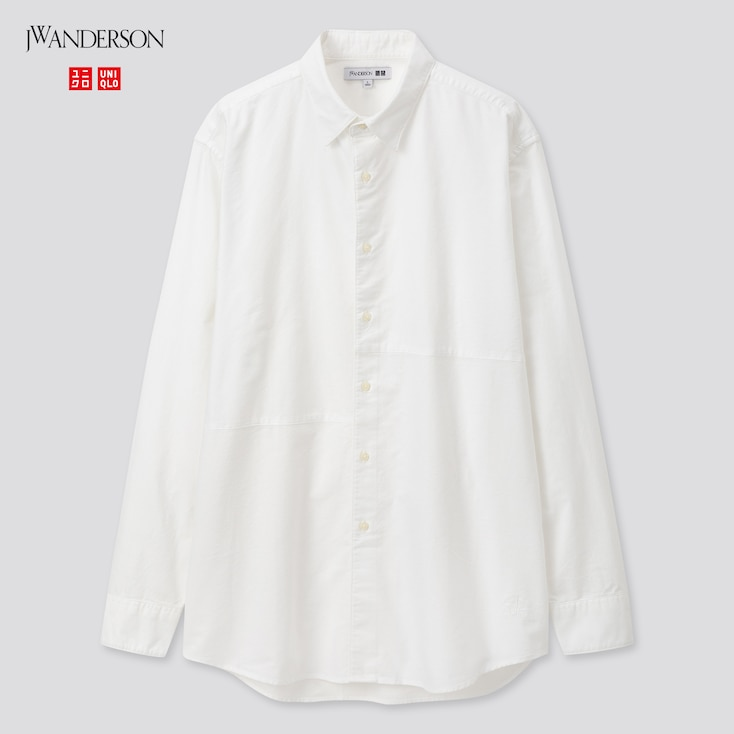 Men Oxford Long-Sleeve Shirt (Jw Anderson), Off White, Large