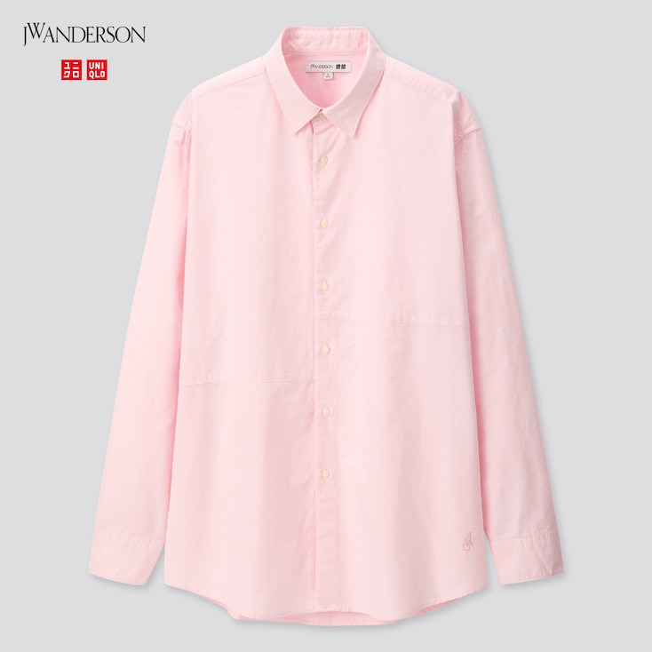 Men Oxford Long-Sleeve Shirt (Jw Anderson), Pink, Large