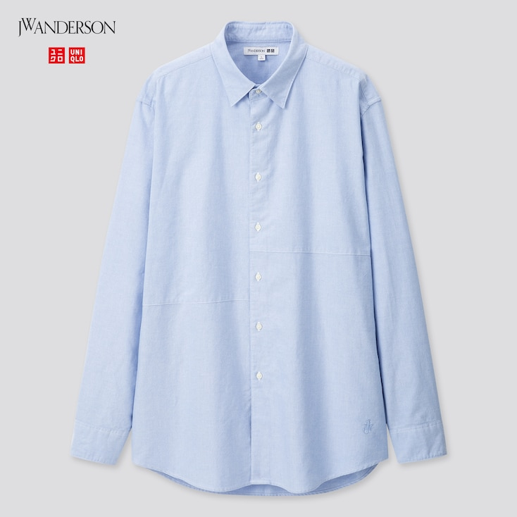 Men Oxford Long-Sleeve Shirt (Jw Anderson), Blue, Large