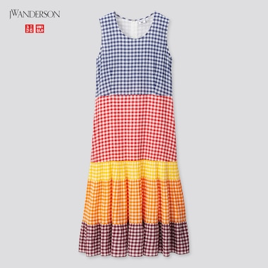 Women Tiered Sleeveless Dress (Jw Anderson), Blue, Medium