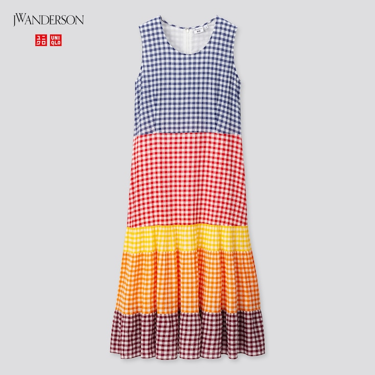 Women Tiered Sleeveless Dress (Jw Anderson), Blue, Large