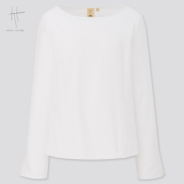 Women Boat Neck Long-Sleeve Blouse (Hana Tajima), White, Large
