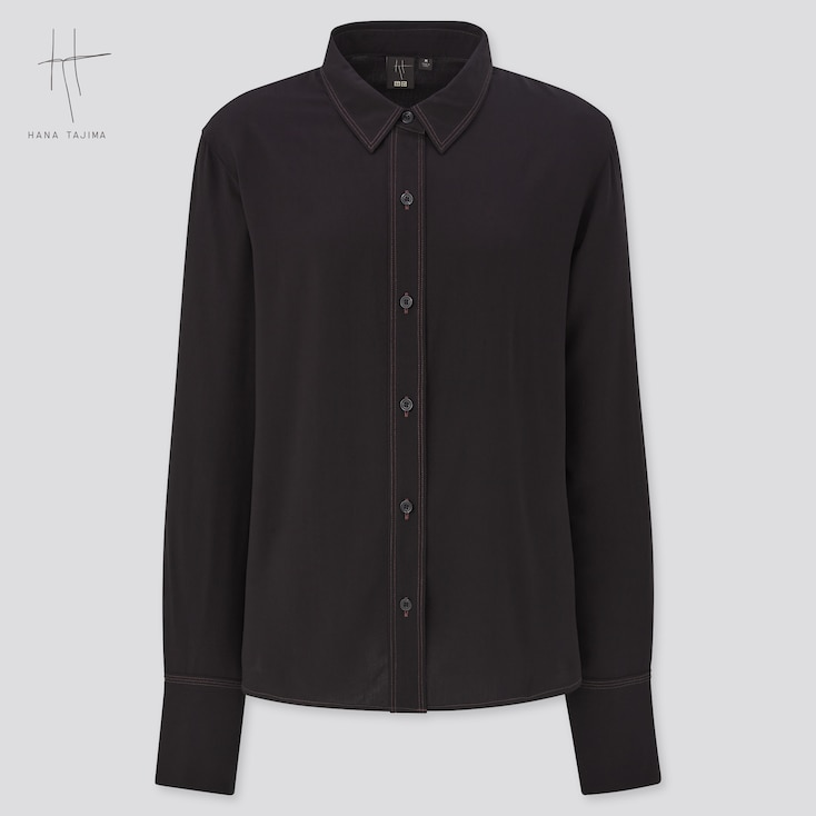 Women Rayon Long-Sleeve Blouse (Hana Tajima), Black, Large