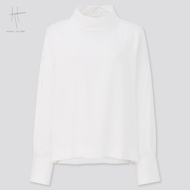 Women Hana Tajima Rayon Mock Neck Long Sleeved Blouse