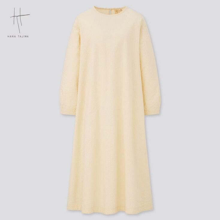 Women Seersucker Long-Sleeve Flare Dress (Hana Tajima), Natural, Large