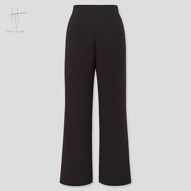 Women Ribbed Wide Straight Pants (Hana Tajima), Black, Medium