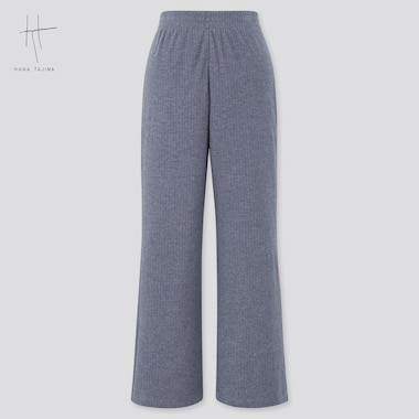 Women Ribbed Wide Straight Pants (Hana Tajima), Blue, Medium