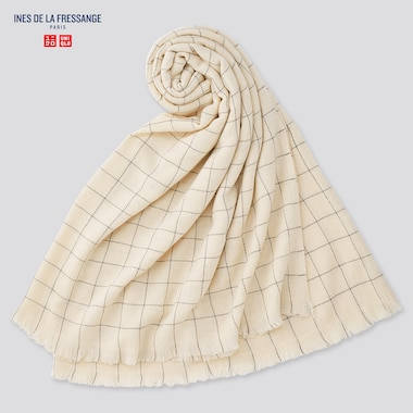 Women Wool-Blend Big Scarf (Ines De La Fressange), Natural, Medium