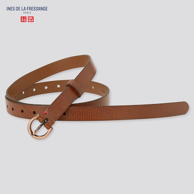 Women Leather Emboss Skinny Belt (Ines De La Fressange), Brown, Medium