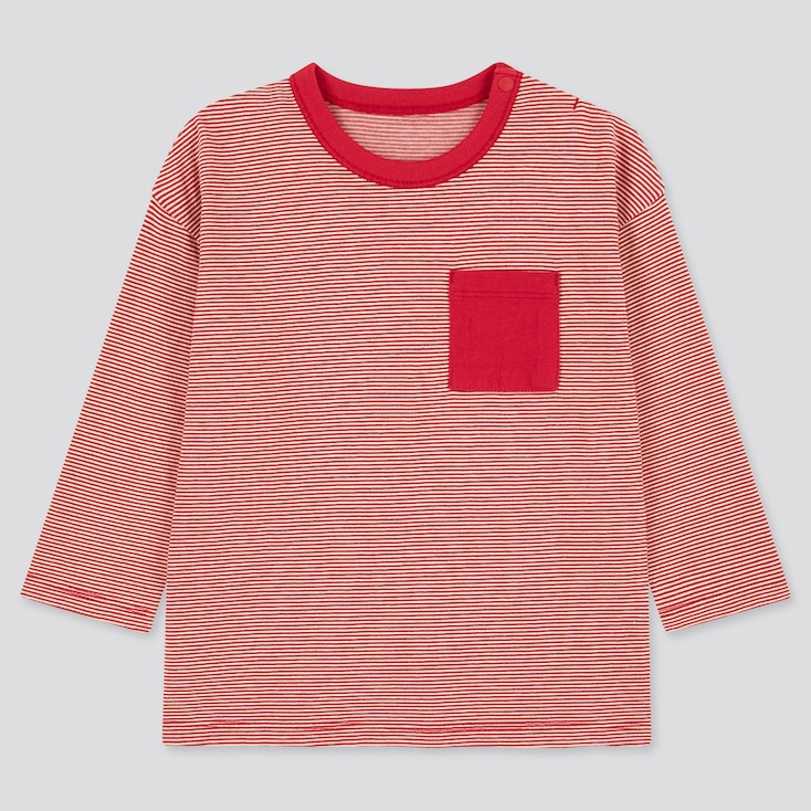 Toddler Crew Neck Long-Sleeve T-Shirt, Red, Large