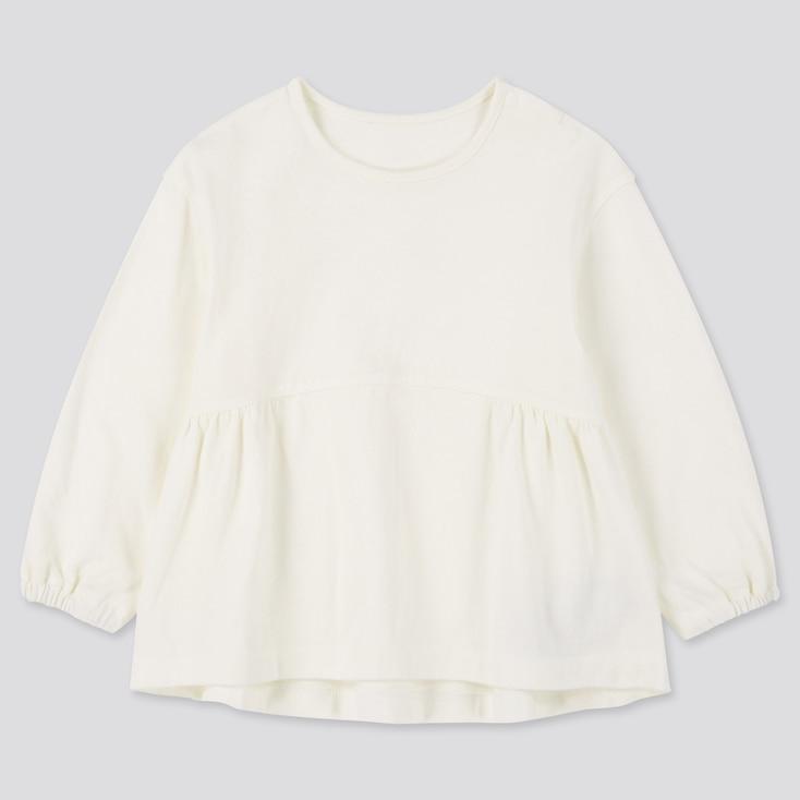 Toddler Crew Neck Long-Sleeve T-Shirt, Off White, Large