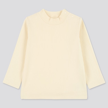 Toddler Ribbed High-Neck Long-Sleeve T-Shirt (Online Exclusive), Off White, Medium