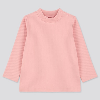Toddler Ribbed High-Neck Long-Sleeve T-Shirt (Online Exclusive), Pink, Medium