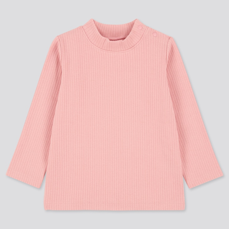 Toddler Ribbed High-Neck Long-Sleeve T-Shirt (Online Exclusive), Pink, Large