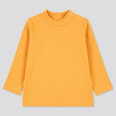 Toddler Ribbed High-Neck Long-Sleeve T-Shirt (Online Exclusive), Yellow, Medium