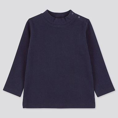 Toddler Ribbed High-Neck Long-Sleeve T-Shirt (Online Exclusive), Navy, Medium