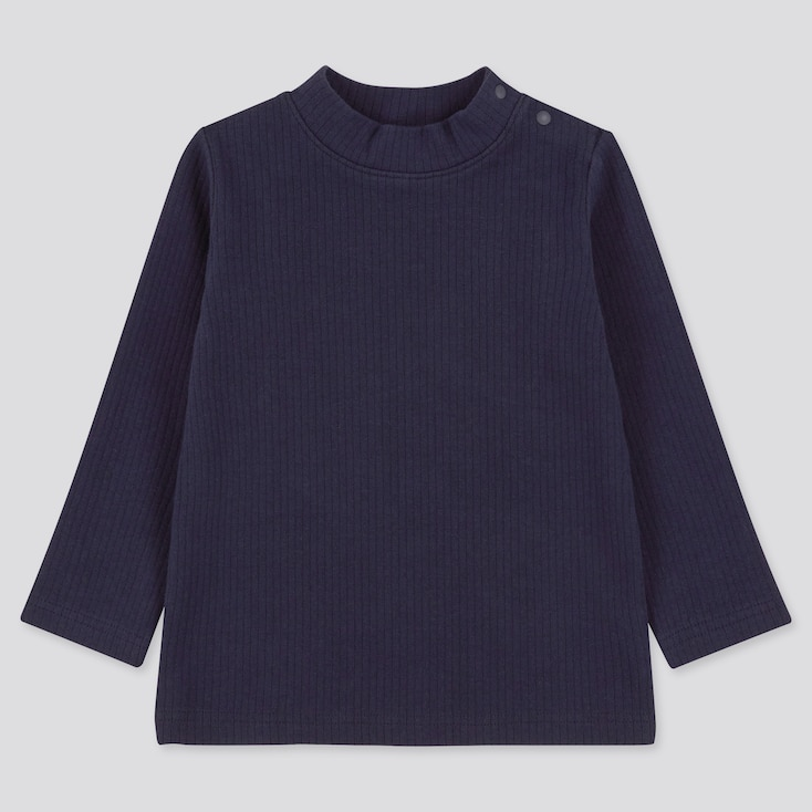 Toddler Ribbed High-Neck Long-Sleeve T-Shirt (Online Exclusive), Navy, Large