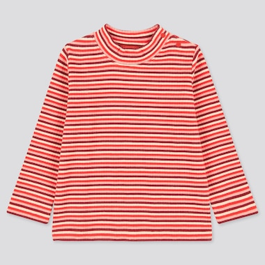 Babies Toddler Ribbed High Neck Striped Long Sleeved T-Shirt