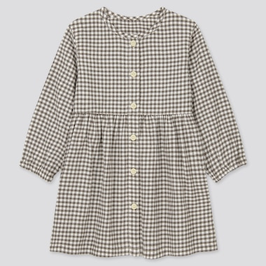 Babies Toddler Flannel Checked Long Sleeved Dress
