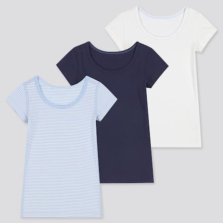 Babies Toddler Cotton Inner Striped Short Sleeved T-Shirt (Three Pack)